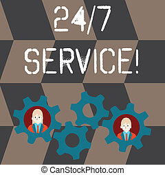disponible, concept, service., gens, texte, n'importe quel, 24, business, service, deux, collaboration, 7, roue, coloré, temps, signification, jours, event., intérieur, engrenages, dent, chaque, habituellement, écriture, ou