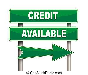 disponible, credito, verde, muestra del camino