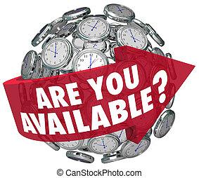 disponible, horario, petición, pregunta, clocks, tiempo, usted, reunión