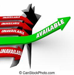 disponible, indisponible, reussite, flèches, accès, commodité, vs