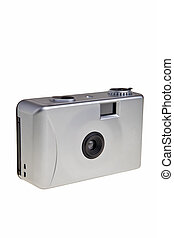 Disposable 35mm photo camera isolated over white background.