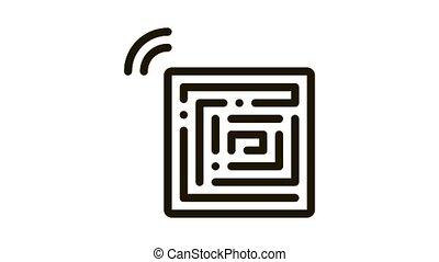 Disposable Anti-Theft Stickers Icon Animation. black Disposable Anti-Theft Stickers animated icon on white background