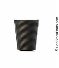 disposable brown corrugated paper cup isolated on white background