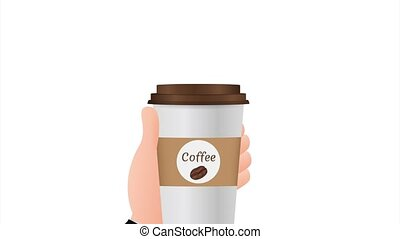 Disposable coffee cup in hand. stock illustration