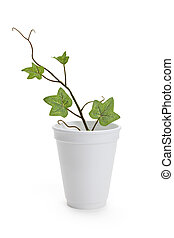 Disposable Cup and plant, concept of Environmental...