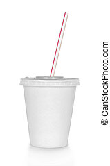 Disposable cup of big volume for beverages with straw. ...