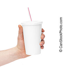 disposable cup of coffee in hand isolated