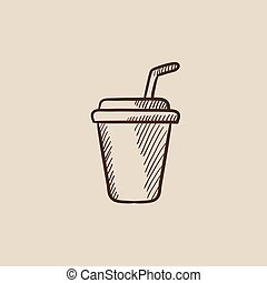 Disposable cup with drinking straw sketch icon.