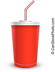 Disposable cups for beverages with straw collection. Vector ...