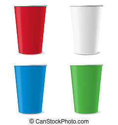 Disposable cups - Four disposable empty colorful cups