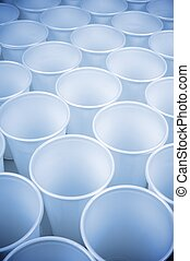 disposable dishes - large group of white disposable plastic ...