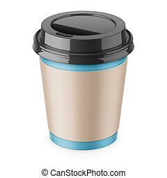 Disposable paper coffee cup with lid and sleeve. - Blue...