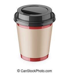 Disposable paper coffee cup with lid and sleeve. - Red paper...
