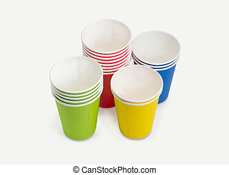 Disposable paper cups in different colors