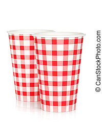 Disposable paper cups. Isolated on white background