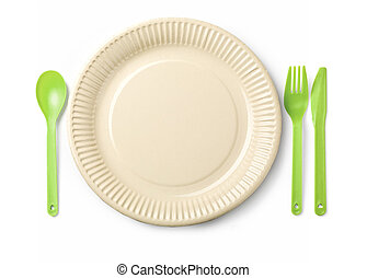 Disposable Paper Plate, spoon, Fork and Knife. Isolated on...