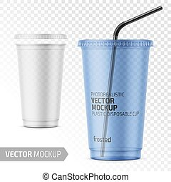 Disposable plastic cup with lid and straw. - Empty...