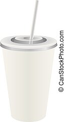 Disposable plastic cup with straw