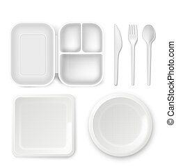 Disposable plastic dishware vector illustration of 3D realistic lunchbox plate and cutlery spoon, knife or fork isolated icons