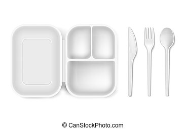 Disposable plastic illustration of lunch box and cutlery...