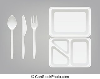 Disposable plastic lunchbox and cutlery vector illustration of plate, spoon, knife or fork isolated 3D realistic isolated icons