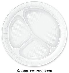 Disposable Plastic Plate. Isolated on White. Vector...