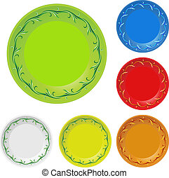 Disposable plates - Set of disposable plates. Illustration...