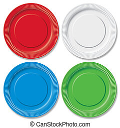 Disposable plates - Red, green, blue and white disposable...