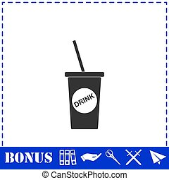 Disposable soda cup icon flat