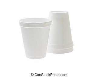 Disposable styrofoam cups on white background