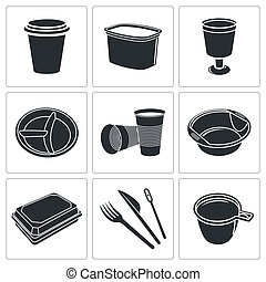 Disposable tableware icon collection - Tableware icon ...