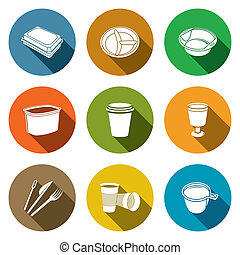 Disposable tableware Icons - Tableware icon collection on a...