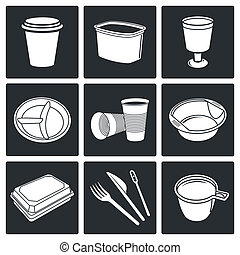 Disposable tableware Icons - Tableware icon collection on a ...
