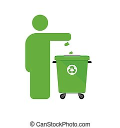 dispose trash icon with man in green color illustration