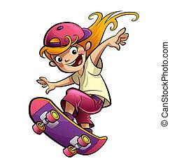 disposição, skateboard, caricatura, criança, menina, desporto, sorrir feliz