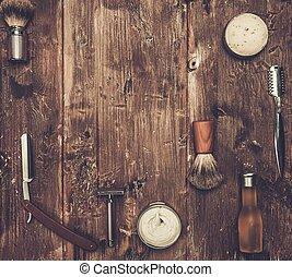 disposição, tábua, acessórios, raspar