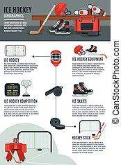 disposición, infographic, bandera, hockey, hielo