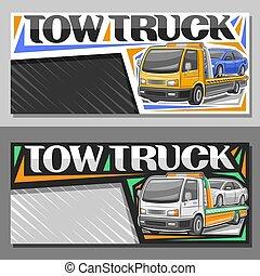 disposiciones, vector, camión, remolque