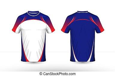 disposition, bleu, e-sport, t-shirt, conception, gabarit, blanc rouge