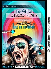 disposition, club, disco, forme, aviateur, nuit, dj