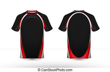 disposition, e-sport, t-shirt, conception, gabarit, noir, blanc rouge