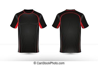 disposition, e-sport, t-shirt, noir, gabarit, conception, rouges