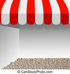 disposition, espace, awning., blanc, text., illustration, vecteur, magasin, rayé, ton, rouges, tente
