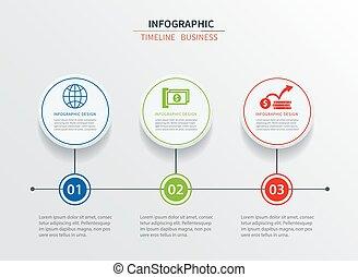 disposition, flot travail, être, circle., conception, options, présentations, 3, toile, gabarit, business, diagramme, infographics, utilisé, boîte, données, nombre