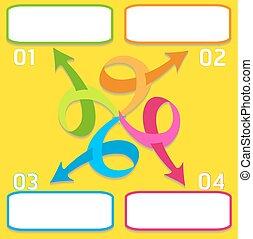 disposition, flot travail, être, options, utilisé, boîte, illustration., nombre