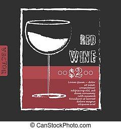 disposition, liste, illustration, vecteur, conception, chalkboard., vin
