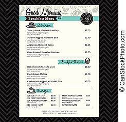 disposition, menu restaurant, conception, gabarit, petit déjeuner