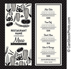 disposition, menu restaurant, noir, gabarit, conception, blanc