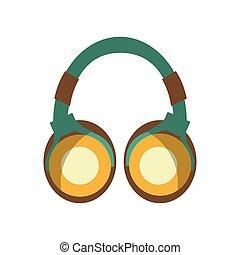 dispositivo, audio, audífonos, icono
