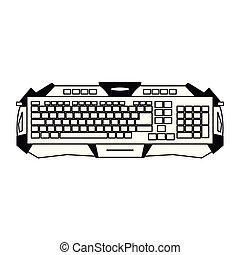 dispositivo, bosquejo, gamer, teclado
